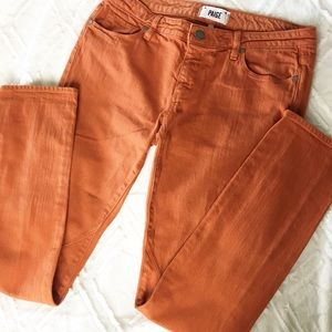 Paige Troy Boy Pumpkin Orange Skinny Jeans 28